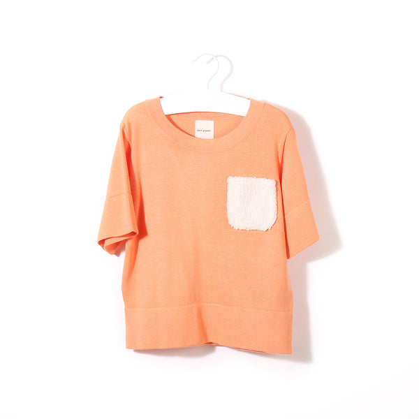 Fluffy Pocket T Peach