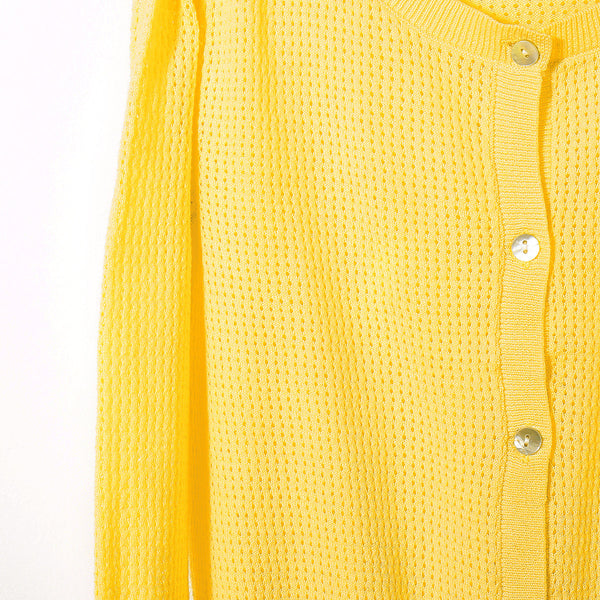 Pointelle Cardigan Yellow