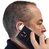 Attach to your phone and put up to your ear. Talk normally, records both sides of the conversation.