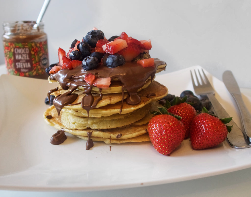 Pancakes topped with ChocoHazel with Stevia
