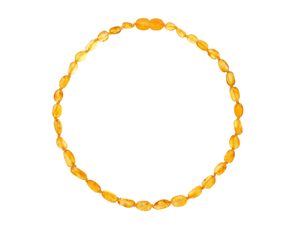 Raw Honey Color Olive Amber Teething Necklace