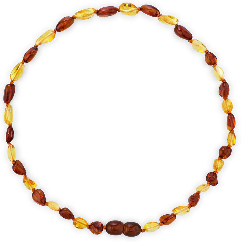 Baltic Amber Necklace (Unisex) (Lemon Cognac) -Knotted Between Beads - Certificated Oval Baltic Jewelry