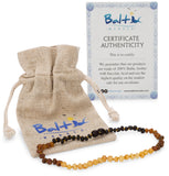 Baltic Amber Necklace (Unisex) (Reverse Rainbow) (Raw) - Knotted Between Beads - Certificated Oval Baltic Jewelry