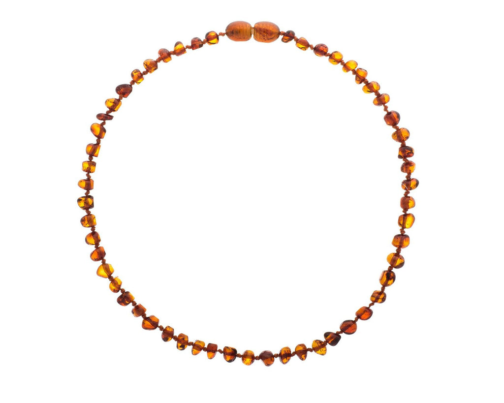 Polished Cognac Color Baroque Amber Teething Necklace