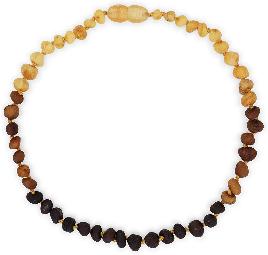 Baltic Amber Necklace (Unisex) (Rainbow) (Raw) - Knotted Between Beads - Certificated Oval Baltic Jewelry