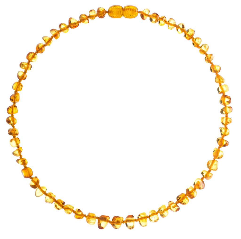 Baltic Amber Necklace (Unisex) (Honey) -Knotted Between Beads - Certificated Oval Baltic Jewelry