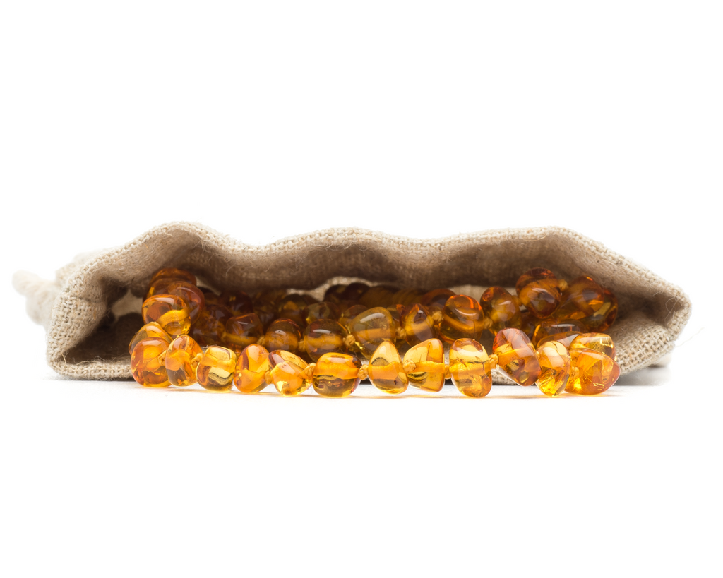 Polished Honey Color Baroque Amber Teething Necklace