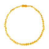 Raw Amber Necklace (Unisex) (Milky) - Knotted Between Beads - Certificated Oval Baltic Jewelry