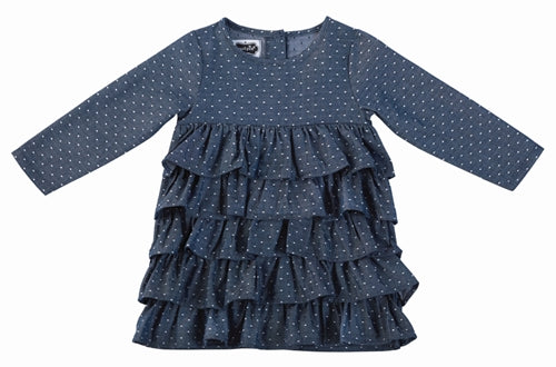 Girls Dress | Denim / Chambray Ruffle & Pindots - Girls Dresses - Poshinate Kiddos Baby & Kids Store