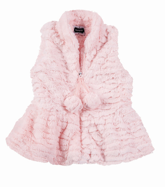 Girls Vest | Faux Fur | Pink | Vests | Poshinate Kiddos Baby & Kids Boutique