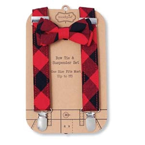 Suspenders & Bow Tie Set | Buffalo Plaid - Suspenders - Poshinate Kiddos Baby & Kids Gifts - Display Card