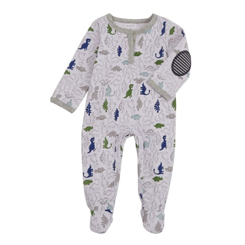Baby Footed Sleeper | Dinosaur | White Navy Green-Baby Footed Sleepers-Poshinate Kiddos Baby & Kids Store