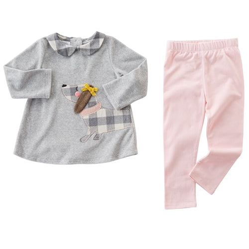 Girls Outfit | Puppy Tunic & Legging | Grey & Pink