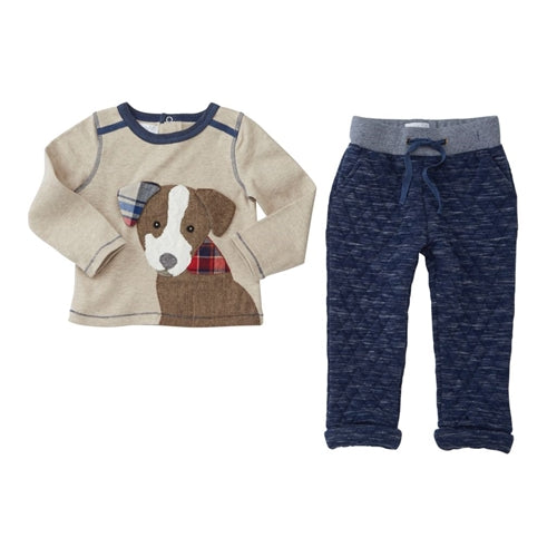 Boys Outfit | Puppy Front | Quilted Navy Tan