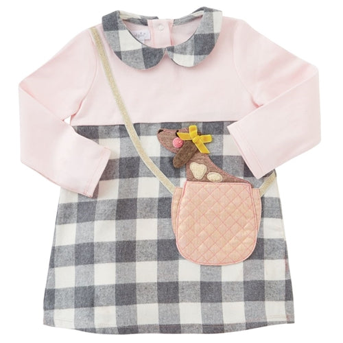 Girls Dress | Puppy In Purse | Pink & Check - Girls Dresses - Poshinate Kiddos Baby & Kids Store