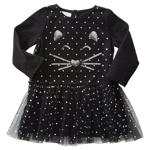 Girls Dress | Black Cat | Silver Sequin | Mesh Overlay - Girls Dresses - Poshinate Kiddos Baby & Kids Store