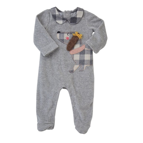 Baby Girls Footed Sleeper | Flannel Puppy | Grey Velour - Baby Pajamas - Poshinate Kiddos Baby & Kids Store