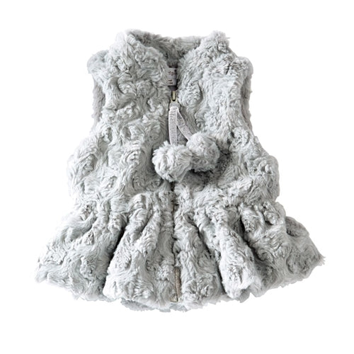 Girls Vest | Faux Fur | Grey | Vests | Poshinate Kiddos Baby & Kids Store