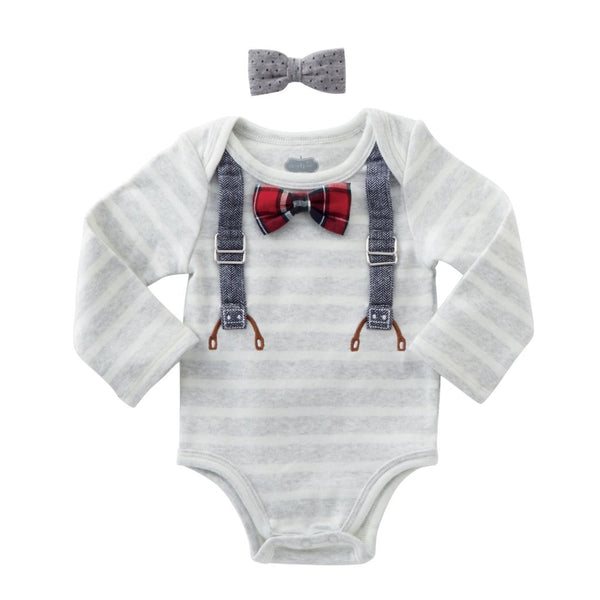 Baby Boy Onesie | Bow Tie & Suspenders | Long Sleeve Grey White | Poshinate Kiddos | Tie on Top