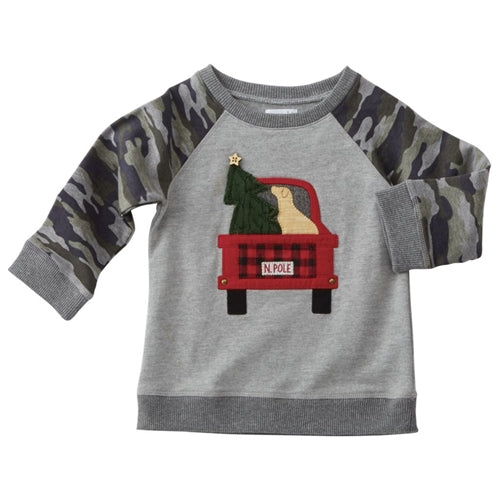 Boys Sweatshirt | Truck & Tree | Grey Camo | Poshinate Kiddos Baby & Kids Boutique | Front View