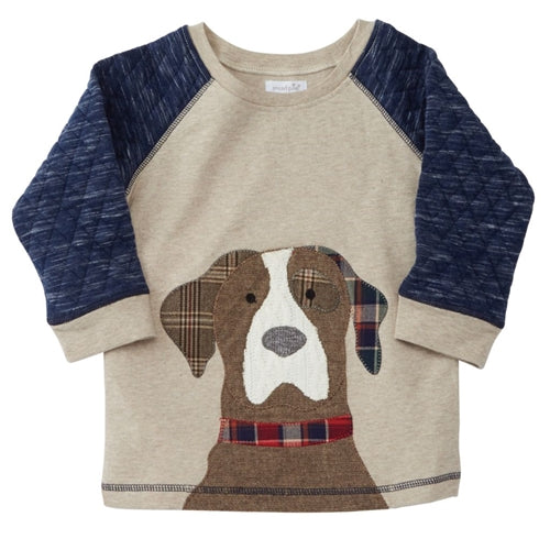 Boys Sweatshirt | Puppy Front | Quilted Navy & Tan