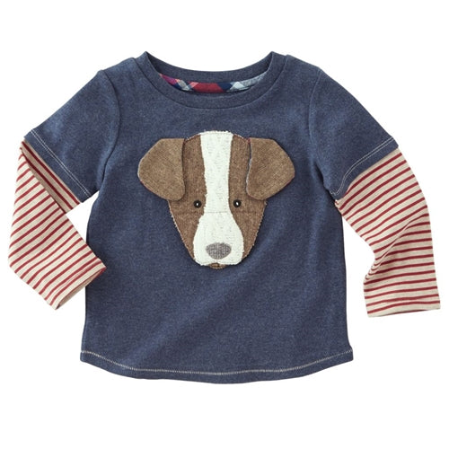 Boys T Shirt | Puppy Front | Navy Red White