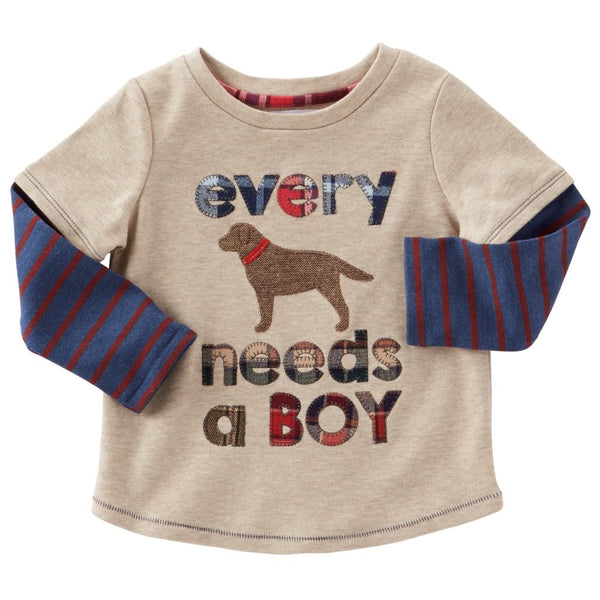 Boys T Shirt | Every Dog Needs A Boy | Tan Navy Red - Boys T Shirts - Poshinate Kiddos Baby & Kids Store
