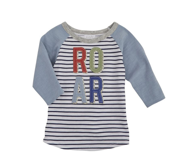 Boys T Shirt | Dinosaur ROAR | White/Navy Stripe | Boys T Shirt | Poshinate Kiddos Baby & Kids