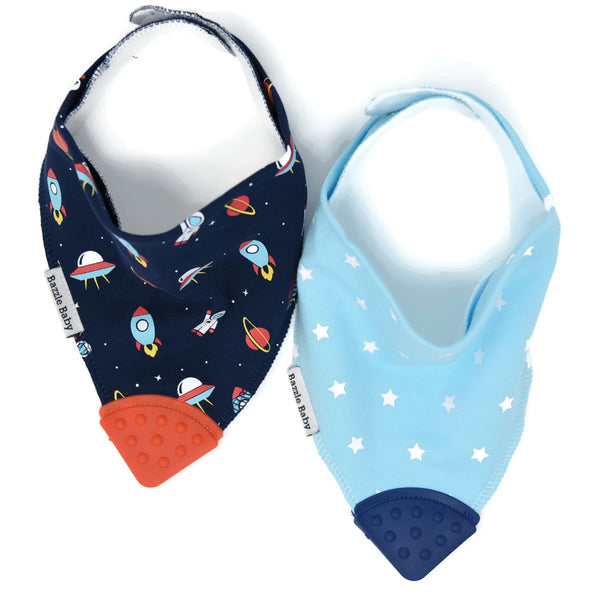 Baby Bibs | With Teether | Navy Rockets & Blue Stars 2-pack