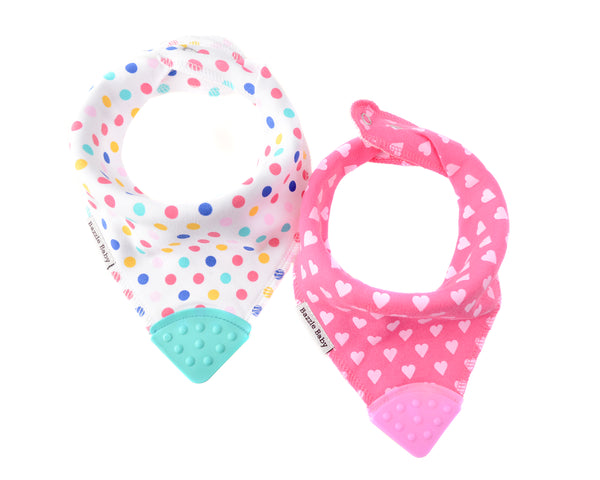 Baby Bibs | With Teether | Hearts & Pink Dots 2-pack | Baby Bibs | Poshinate Kiddos Baby & Kids Boutique | 2 pc set - awesome teether bibs