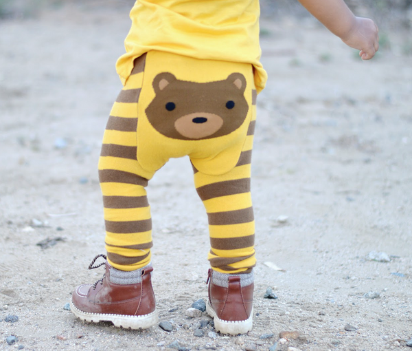 Baby Leggings | Bear | Brown Gold Black | Poshinate Kiddos Baby & Kids Boutique | On child