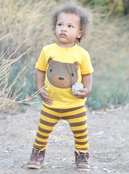 Kids T Shirt | Bear | Brown Gold Black | Poshinate Kiddos Baby & Kids Boutique | front on child
