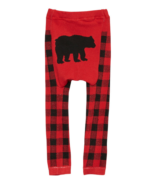 Baby Leggings | Black Bear | Red Black | Poshinate Kiddos Baby & Kids Boutique | Back
