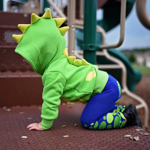 Kids Animal Hooded Sweatshirt | Dino | Navy Green Yellow