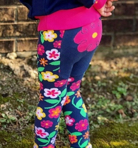 Baby Leggings | Flower | Navy Pink Yellow | Poshinate Kiddos Baby & Kids Boutique | Back on child