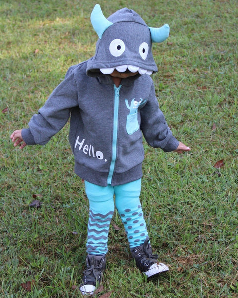 Kids Animal Hooded Sweatshirt | Silly Monster | Grey Teal White