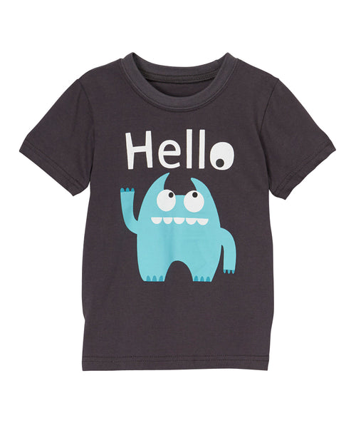 Kids T Shirt | Silly Monster | Grey Teal White | Poshinate Kiddos Baby & Kids Boutique | Front of shirt