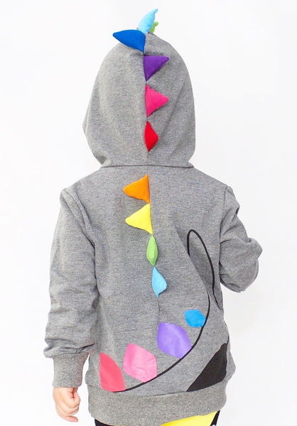 Kids Animal Hooded Sweatshirt | Dino Rainbow Spikes | Grey Black