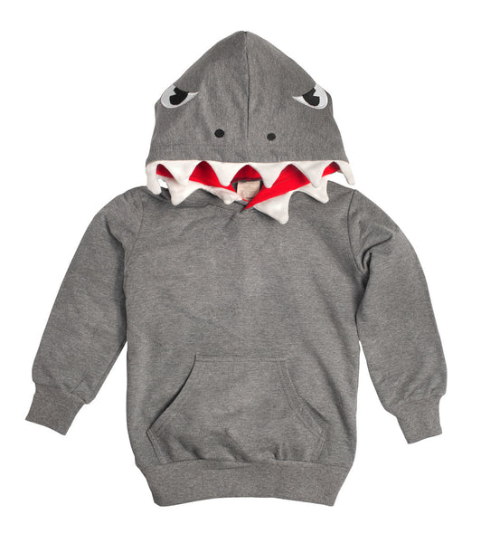 Kids Animal Hooded Sweatshirt | Shark | Grey White | Poshinate Kiddos Baby & Kids Boutique | front