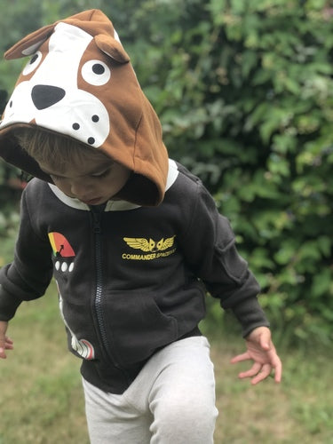 Kids Animal Hooded Sweatshirt | Space Dog | Grey Brown Cream | Poshinate Kiddos Baby & Kids Boutique | Front on child