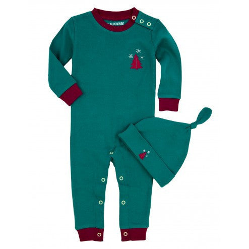 Little Kiddo Romper Set | Teal/Tree - Baby Jammies - 3-6 months / Pink Knotty or Nice - Poshinate Kiddos