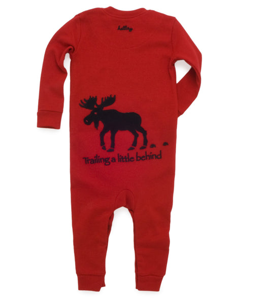 Little Kiddo Romper Set | Red/Moose