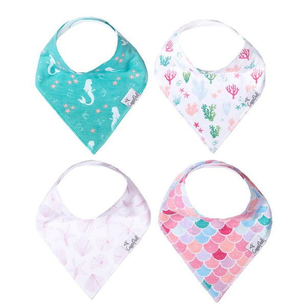 Baby Bibs | Bandana | Coral / Sea 4-Pack - Baby Bibs - Poshinate Kiddos Baby & Kids Boutique