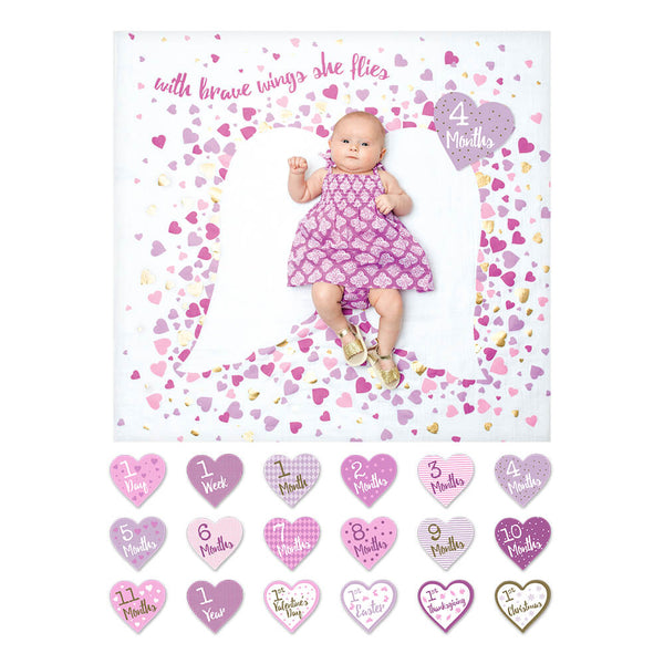 Baby's First Year Deluxe Blanket & Card Set | With Brave Wings She Flies | Blanket | Poshinate Kiddos Baby & Kids Store