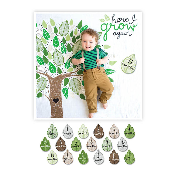Baby's First Year Deluxe Blanket & Card Set | Here I Grow Again | Blankets | Poshinate Kiddos Baby & Kids Store