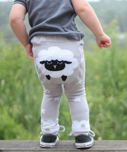 Baby Leggings | Sheep | Black White Grey | Poshinate Kiddos Baby & Kids Boutique | On child