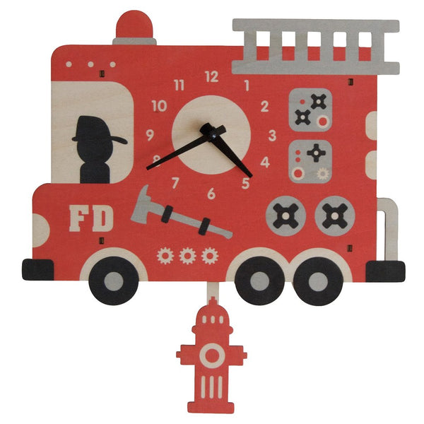 Pendulum Clock | Fire Truck - Pendulum Clocks - Poshinate Kiddos Baby & Kids Boutique