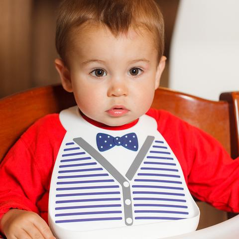 Baby Bib | Little Gentleman | White & Blue | Bow Tie - Baby Bibs - Poshinate Kiddos - Bib on kid