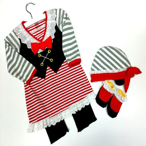 Children's Pirate Outfit | Black/Red/Grey Stripe