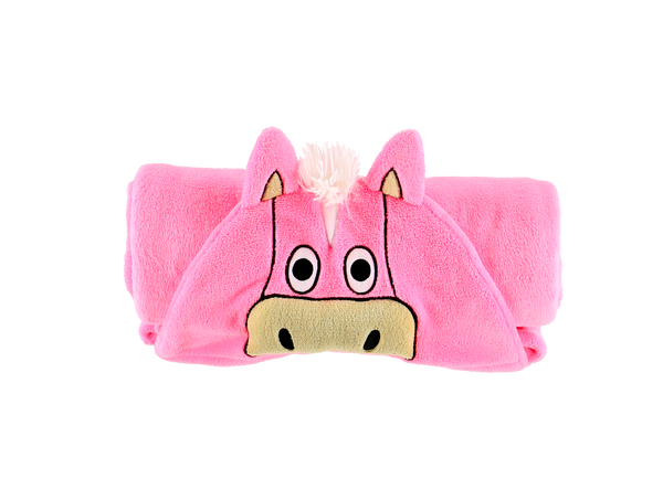 Hooded Kids Fleece Blanket | Pink Horse